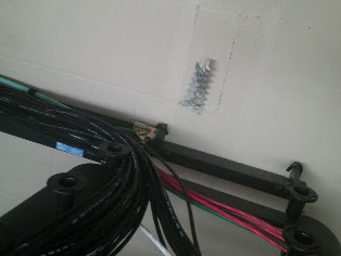 wall to cable rack running to cable management